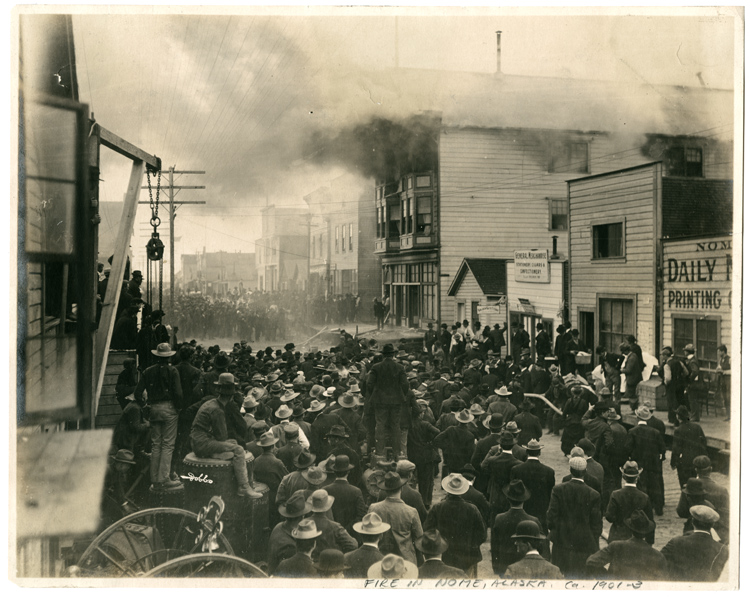FIRE IN NOME ALASKA, CA. 1901 – 03, BY DOBBS.