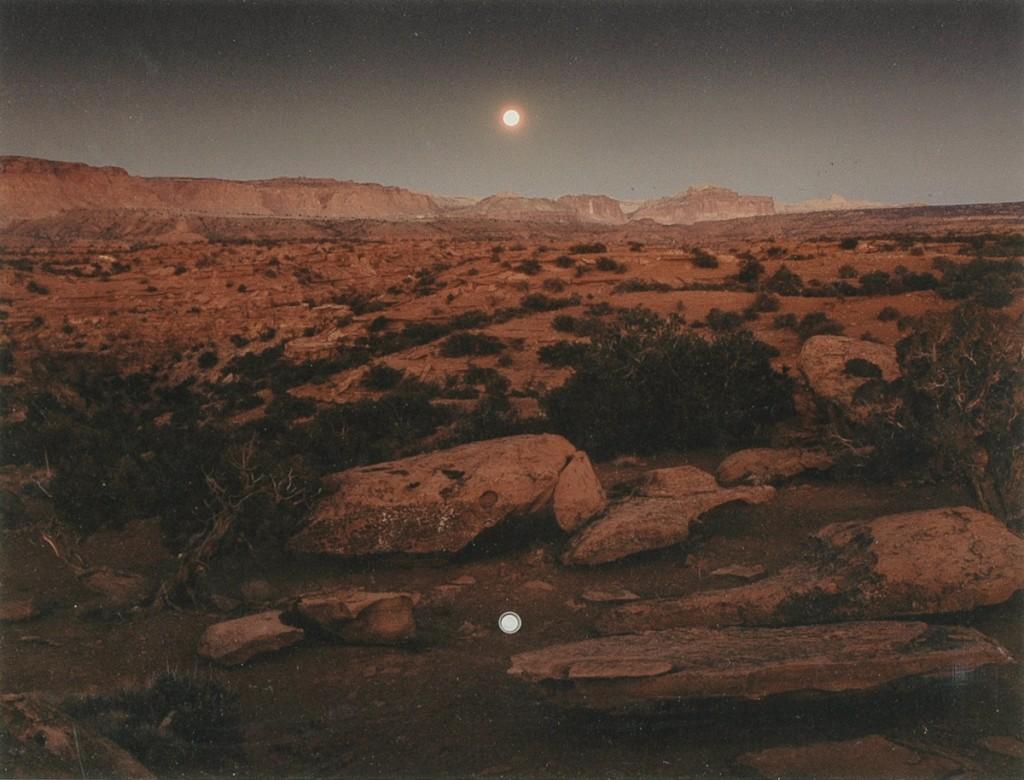 """MOONRISE OVER PIE PAN,  CAPITOL REEF NATIONAL PARK, UTAH"" by JOHN PFAHL."