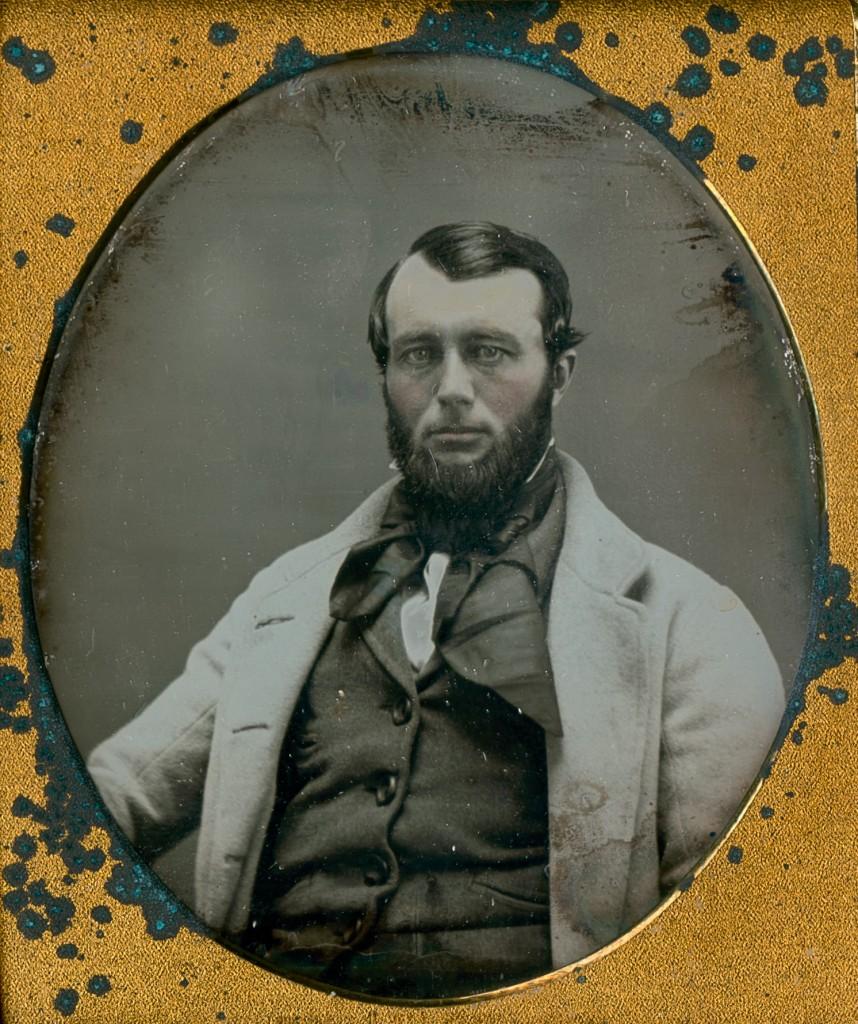 GENTLEMAN IN A LIGHT-COLORED OVERCOAT, 1/6 plate daguerreotype in full case.