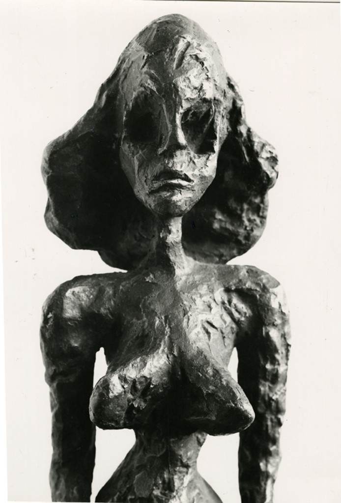 Herbert Matter photo of Giacometti sculpture of a woman